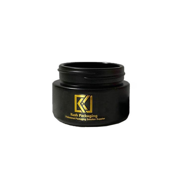 1oz child resistant matte black glass jars