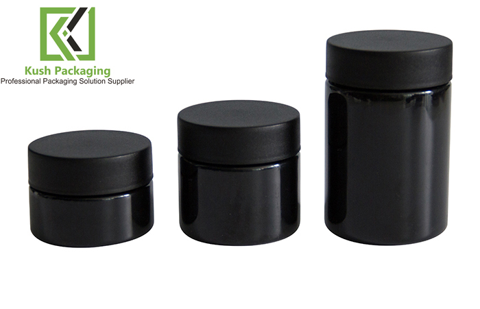 2oz  black child resistant plastic PET jar
