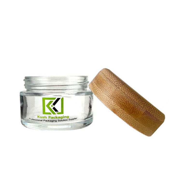 1 oz bamboo lid glass cream jars