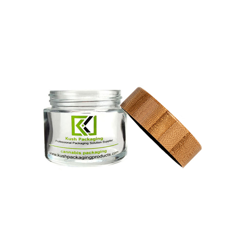 2 oz glass weed jar with child proof bamboo lid