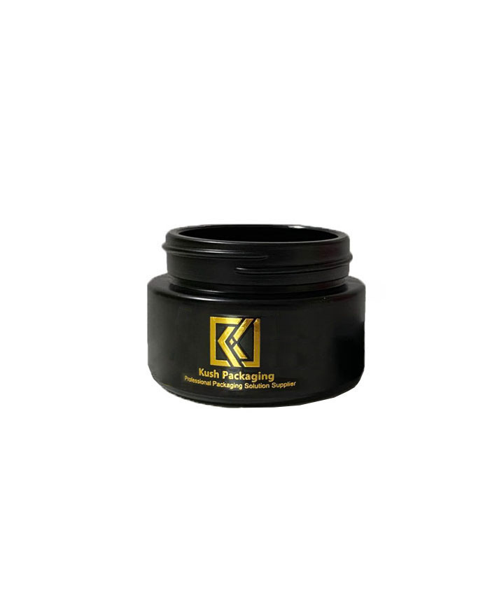 1oz child resistant matte black glass jar