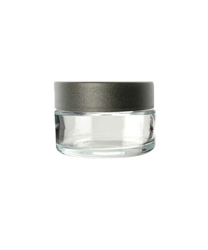 1oz clear child resistant glass jar with black lid