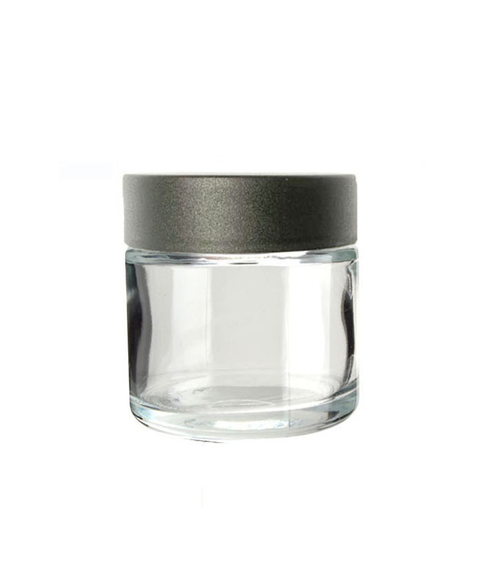 3oz Clear Child Resistant Glass Jar with black lid