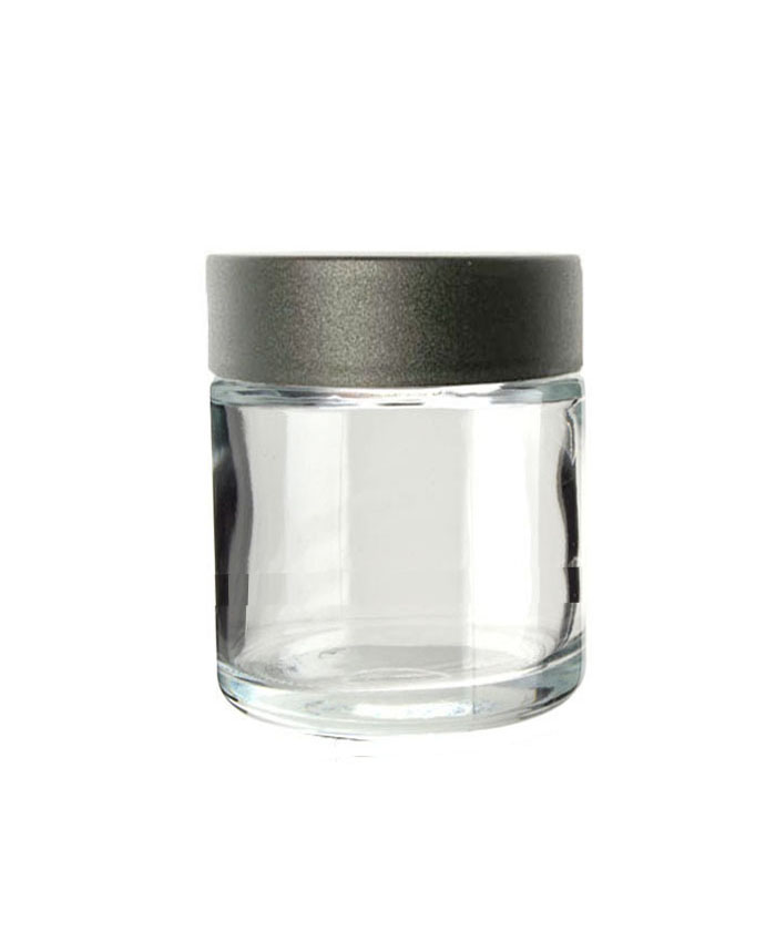 4oz Clear Child Resistant Glass Jar with black lid