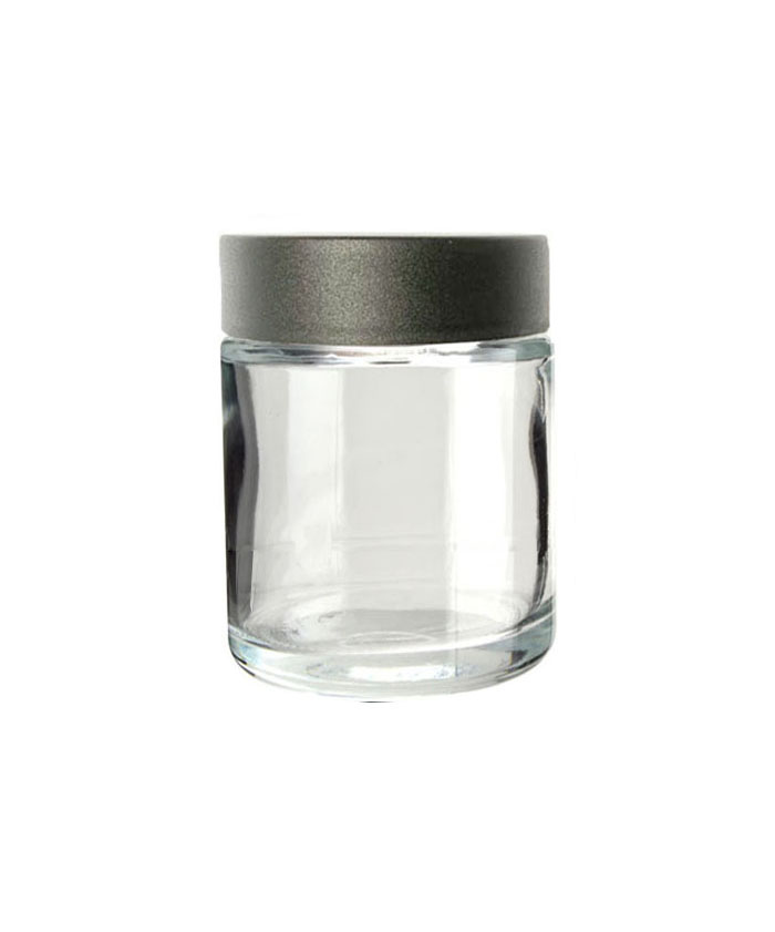 5oz Clear Child Resistant Glass Jar with black lid