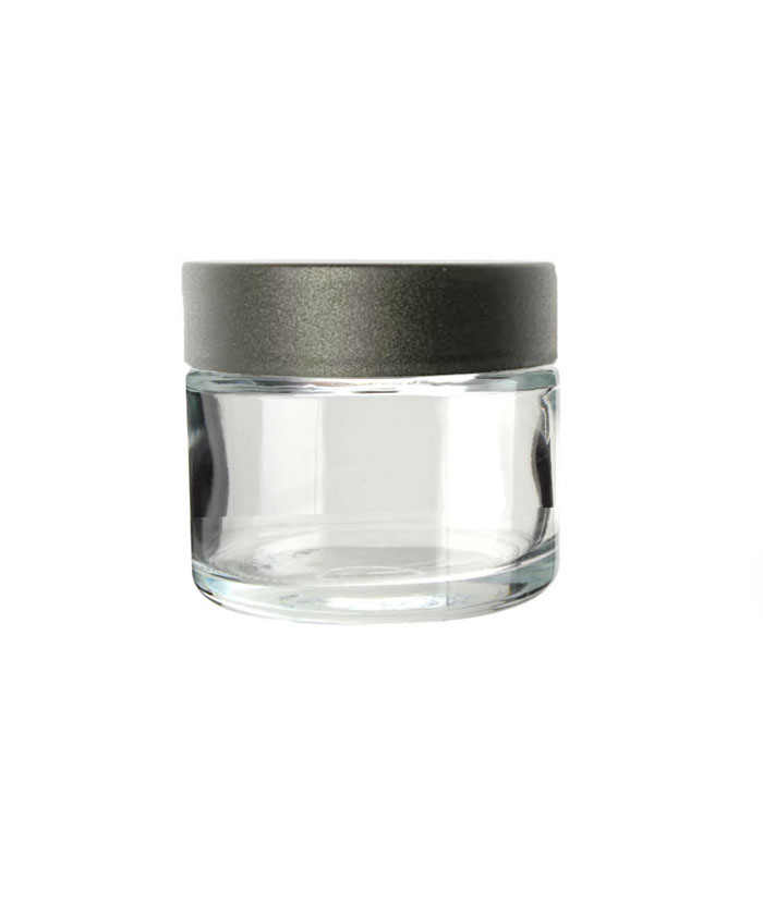 2oz Clear Child Resistant Glass Jar with black lid