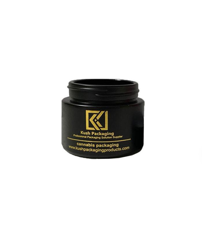 2oz child resistant matte black glass jar