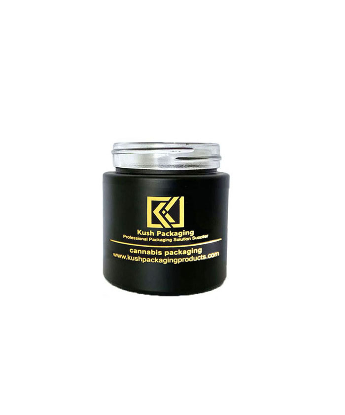 3oz child resistant matte black glass jar