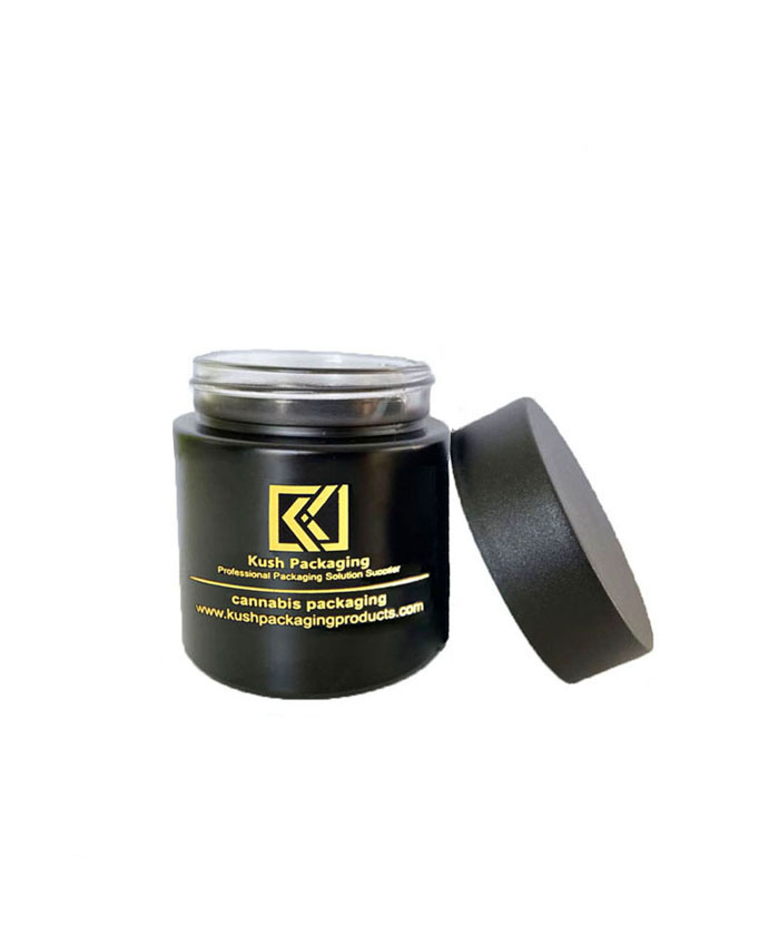 3oz child resistant matte black glass jars