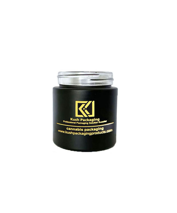 4oz child resistant matte black glass jar