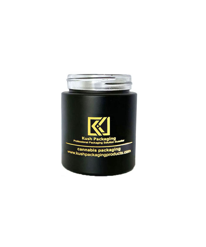 5oz child resistant matte black glass jar