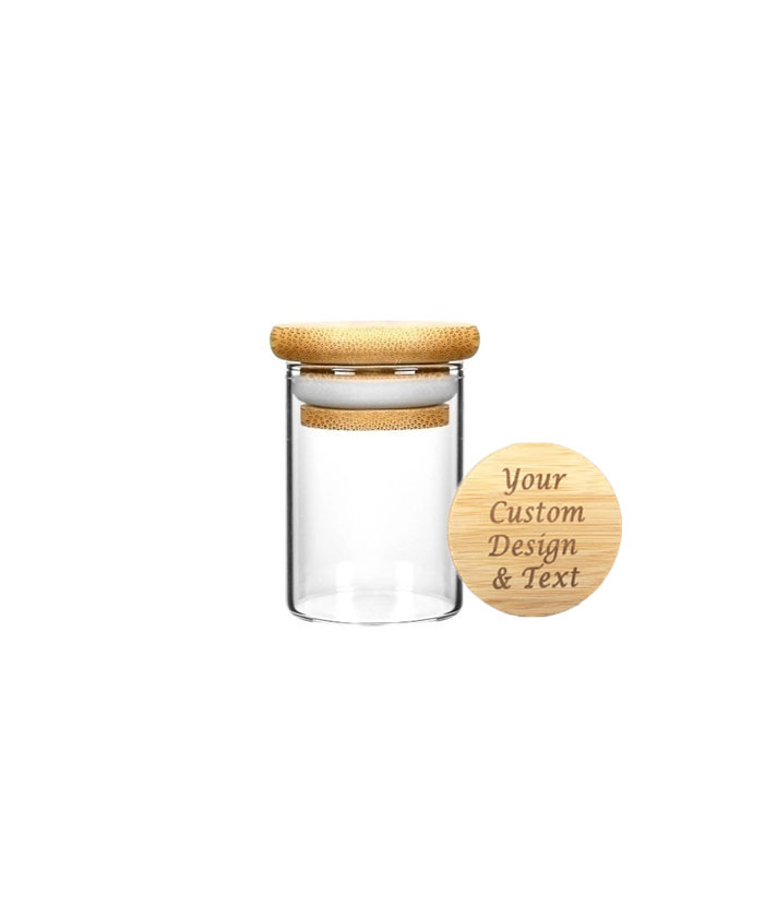 1oz Wood Lid Suction Glass Jars