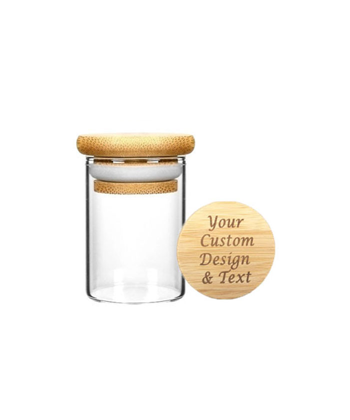 2oz Wood Lid Suction Glass Jars
