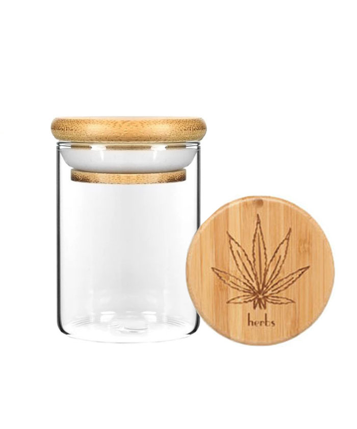 4OZ Wood Lid Suction Glass Jars