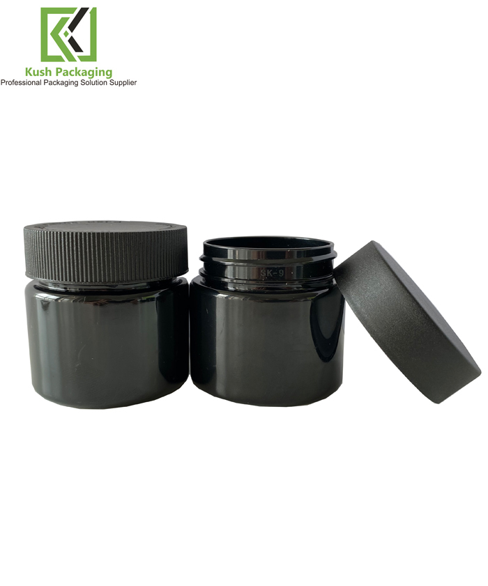 3oz Black Child Resistant PET Plastic Jars