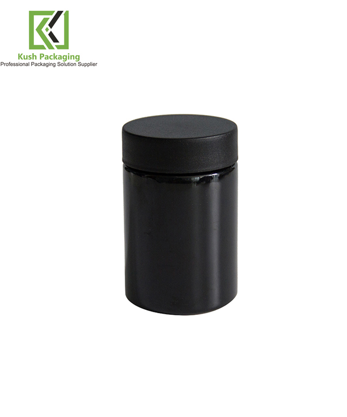 5oz Black Child Resistant PET Plastic Jars