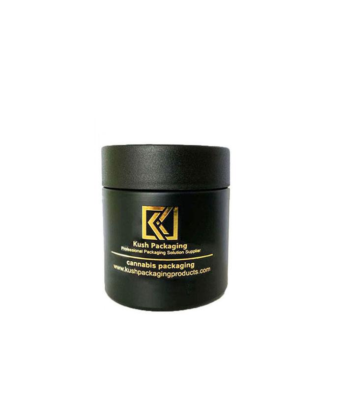 4oz child resistant matte black glass jar
