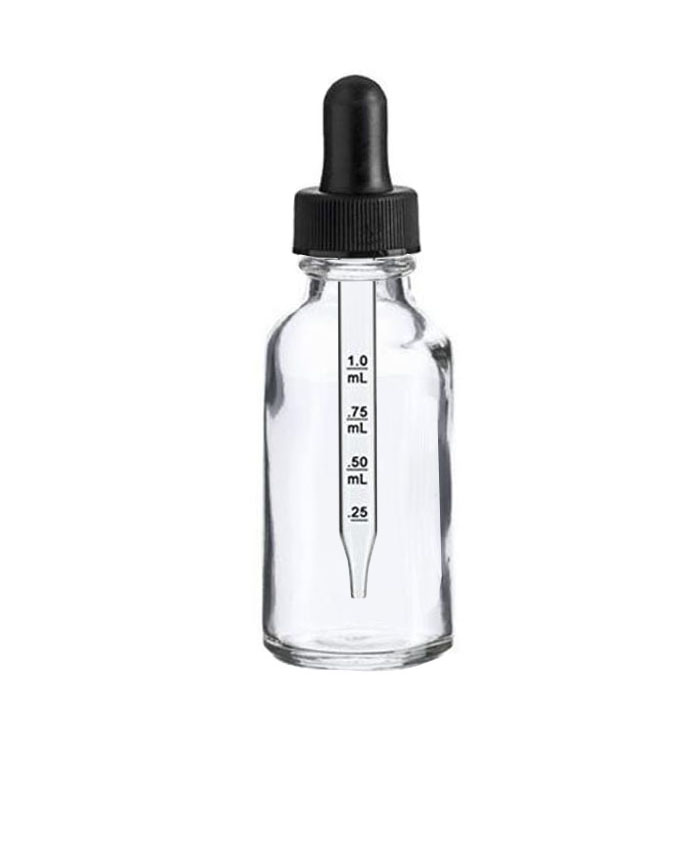 1oz (30ml)Clear Glass dropper bottle