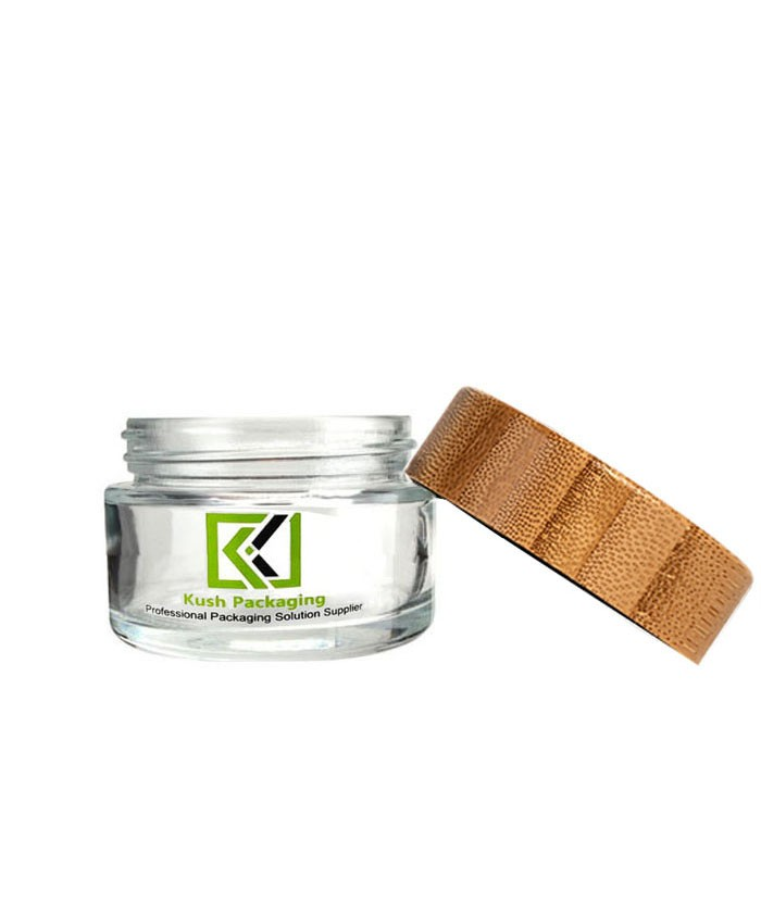 1 oz glass weed jar with child proof bamboo lid
