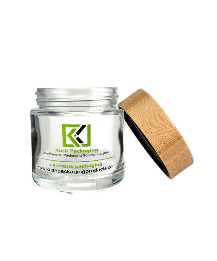 3oz glass weed jar with child proof bamboo lid