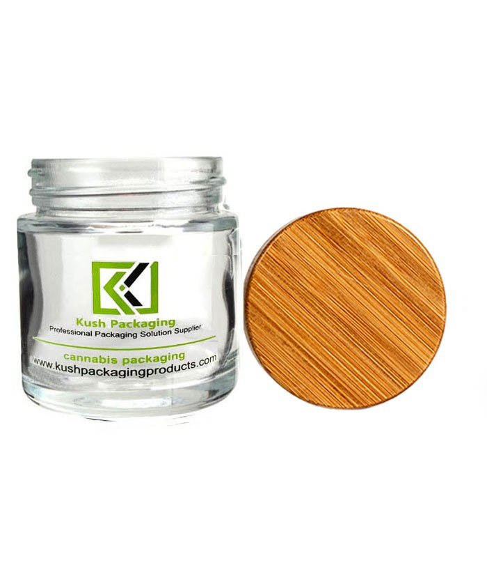 4oz glass weed jar with child proof bamboo lid