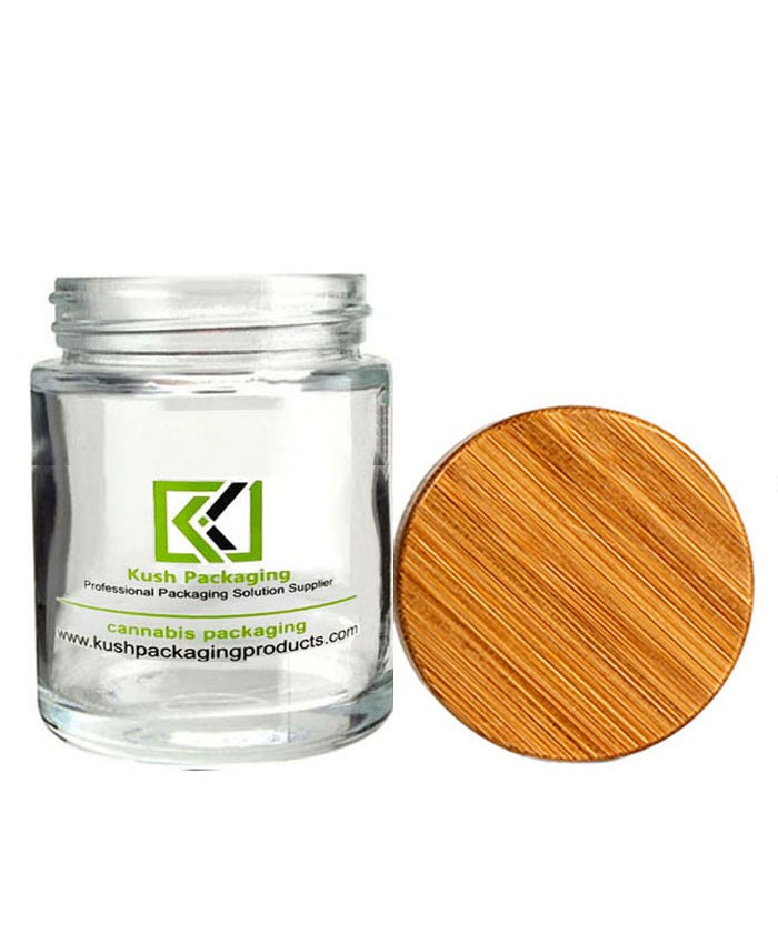 5oz glass weed jar with child proof bamboo lid