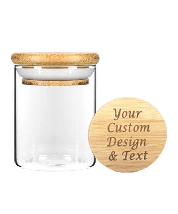 6oz Wood Lid Suction Glass Jars