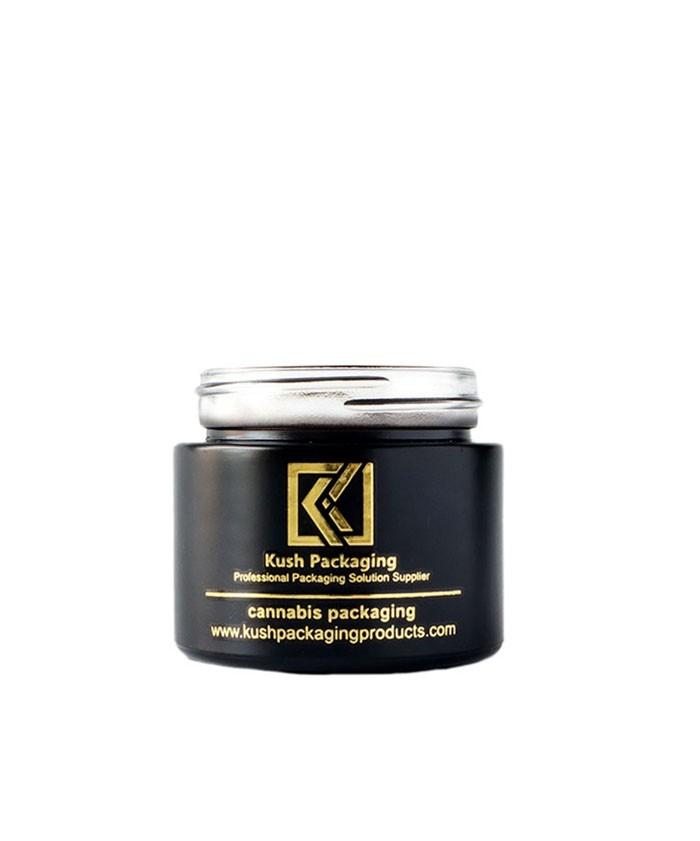 2oz child proof matte black glass jar with gold lid