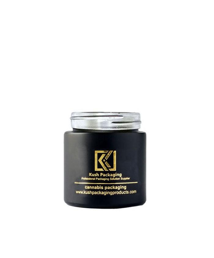 3oz child proof matte black glass jar with gold lid