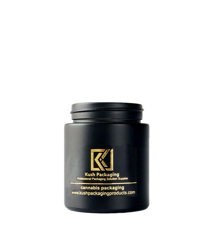 4oz child proof matte black glass jar with gold lid