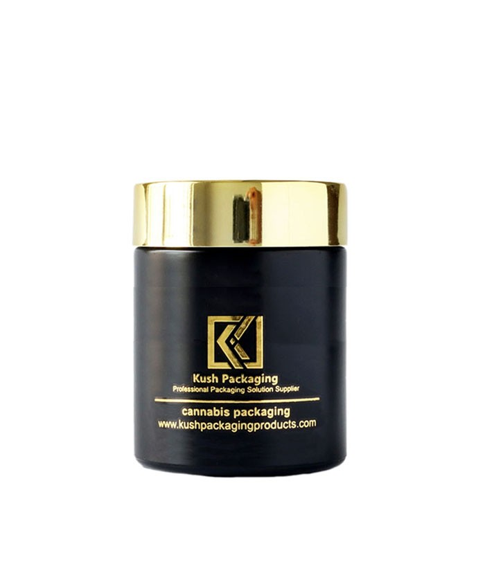 5oz child proof matte black glass jar with gold lid