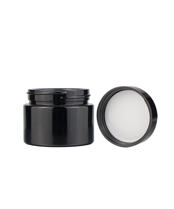2oz child proof black glass jar with black lid