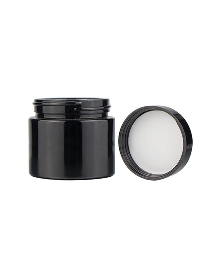3oz child proof black glass jar with black lid