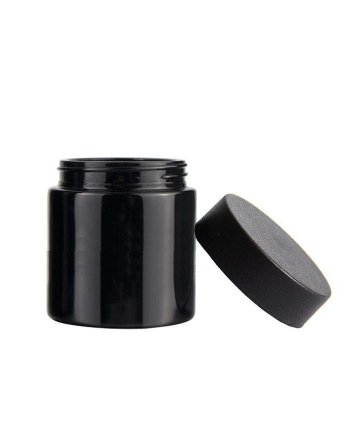4oz child proof black glass jar with black lid