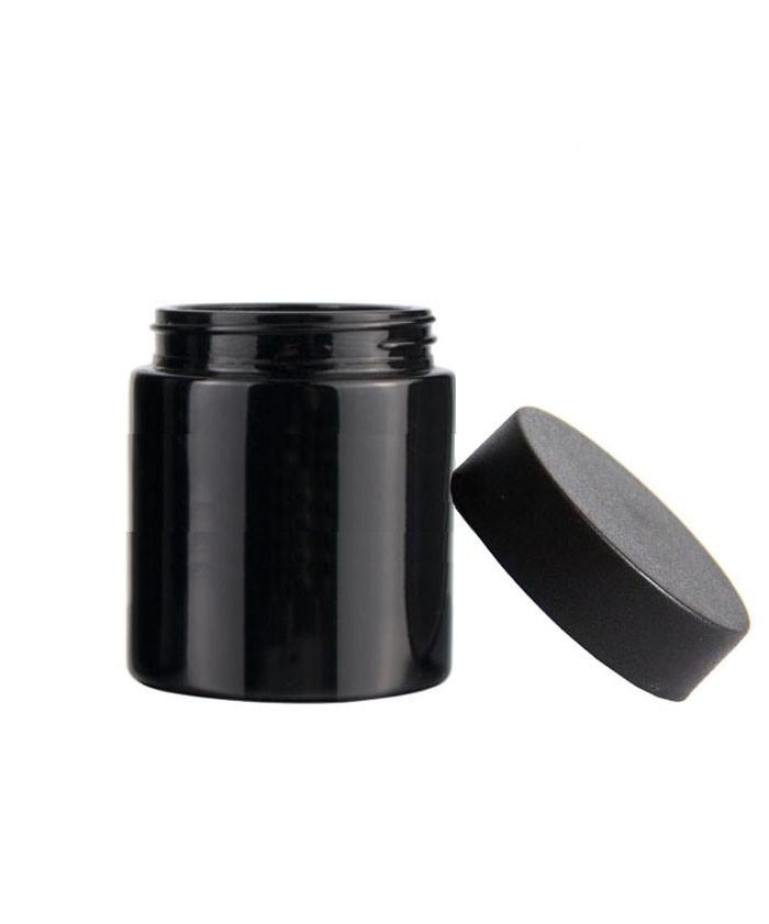 5oz child proof black glass jar with black lid