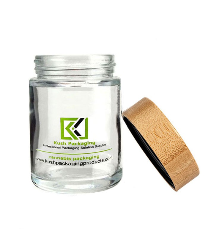 6oz glass weed jar with child proof bamboo lid