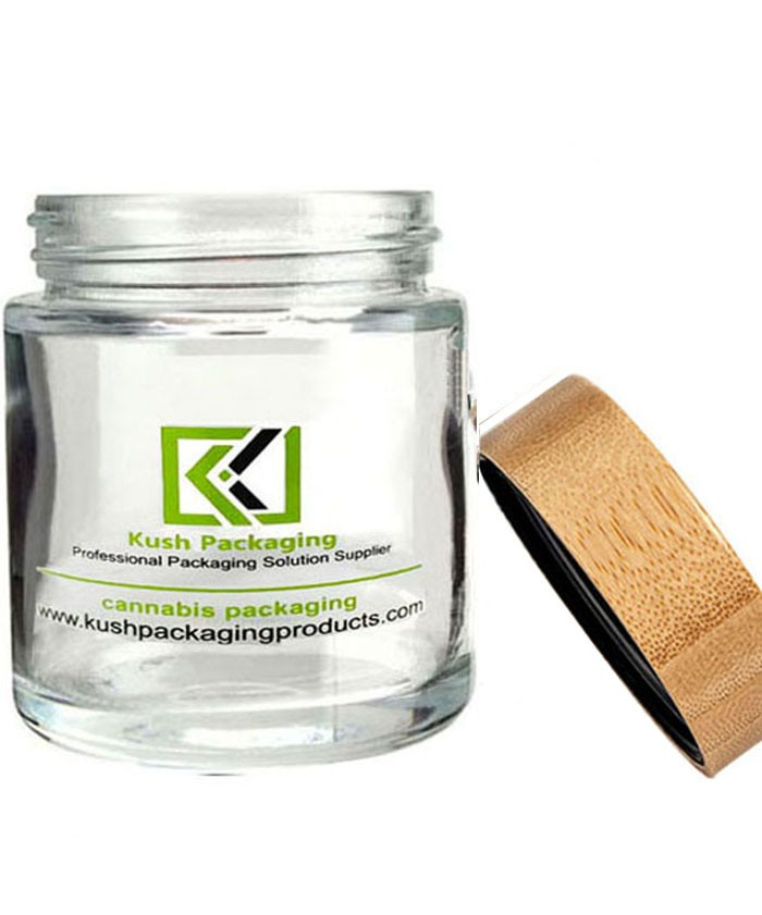 18oz glass weed jar with child proof bamboo lid