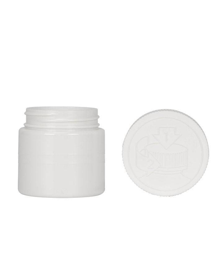 4oz Opaque White Child Resistant PET Plastic Jars